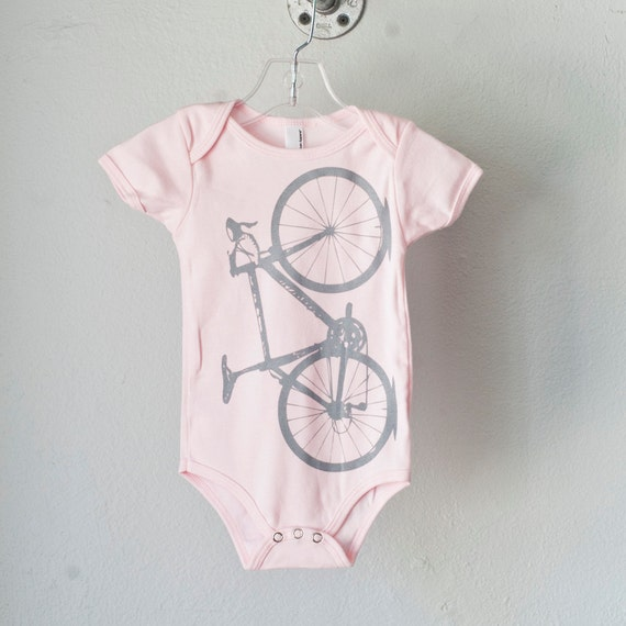VITAL BICYCLE ONEPIECE pink infant bodysuit gray bike