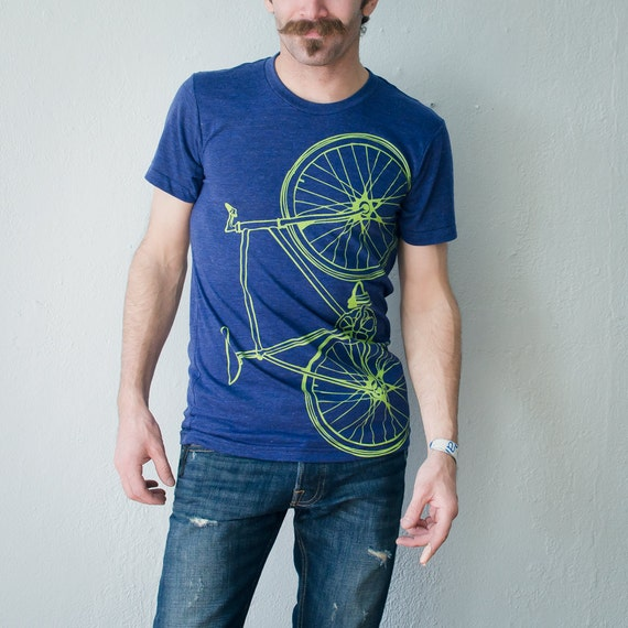 FIXIE BIKE TSHIRT unisex lime green bicycle on indigo xs small medium large xl