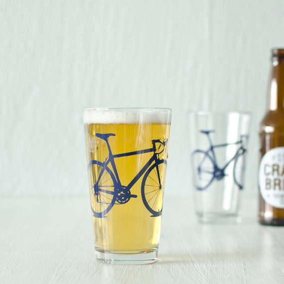 4 bicycle pint or rocks glasses, screen printed bike glassware