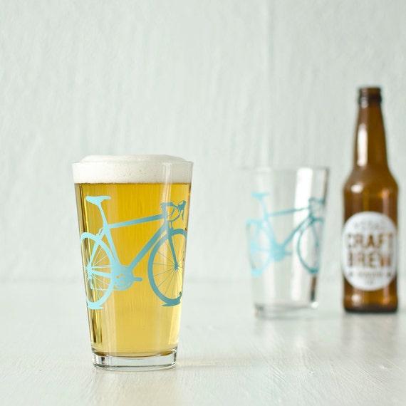 4 bike pint or rocks glasses, turquoise bicycle