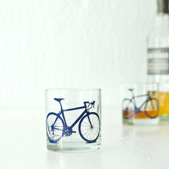 4 bike rocks or pint glasses screen printed bicycle glassware