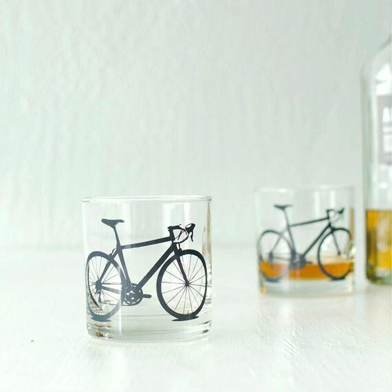4 bike rocks glasses Screen Printed bicycle Glassware