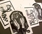 Somewhat Strange Mystery Creatures Black and White Linocut Card Assortment set of 4 monsters fantasy art creepy cute dark art halloween art