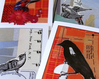 Birds of a Feather Collage Art Card Assortment set of 4 with envelopes snail mail all occasion greeting cards