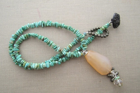 WINTER SALE - Sun Over the Meadow Chalcedony, Turquoise, and Pyrite Necklace