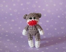 PDF PATTERN - Amigurumi Micro Crochet Tutorial Pattern Jointed Miniature SockMonkey