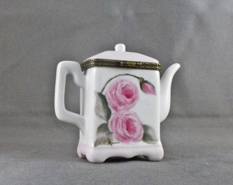 Hand Painted Tea Pot Shaped, Porcelain Hinged Box With Pink Cabbage Roses