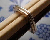 Listing Reserved for Cathy - Stack Square Twin Rings in 10k Rose Gold and Sterling Silver