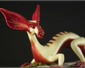Bat Eared Sap Dragon fantasy sculpture OOAK polymer clay unique handmade figurine