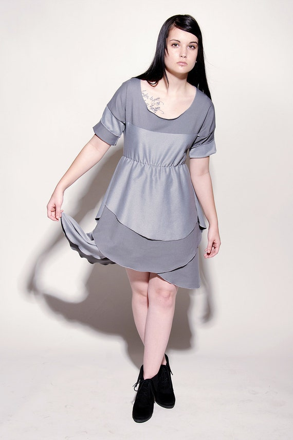 Spicy Toast Couture Miss Metal Petal Dress silver silvery gray size: small-medium