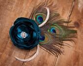 Peacock Fascinator - Teal Flower Fascinator