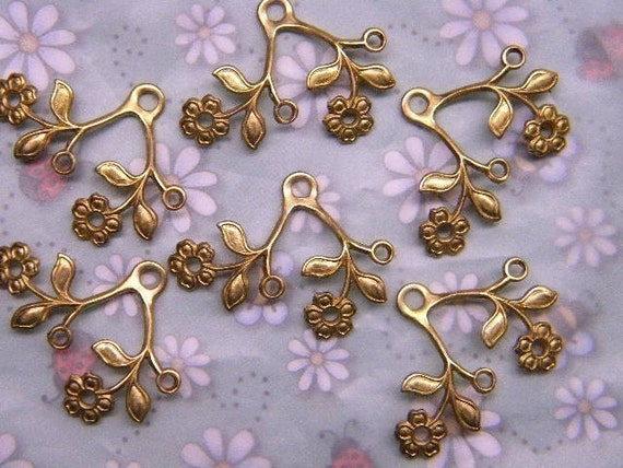 Flower and Leaf Double Branches Dapt Brass Jewelry Charms on Etsy x 6