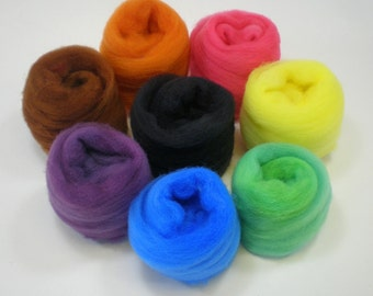 Felting Wool Assortment Basic Colors roving CRAYON BOX 2 oz.