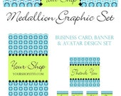 Etsy Banner, Business Card and Avatar Set - Medallion, Aqua, Green, Turquoise  - ON SALE
