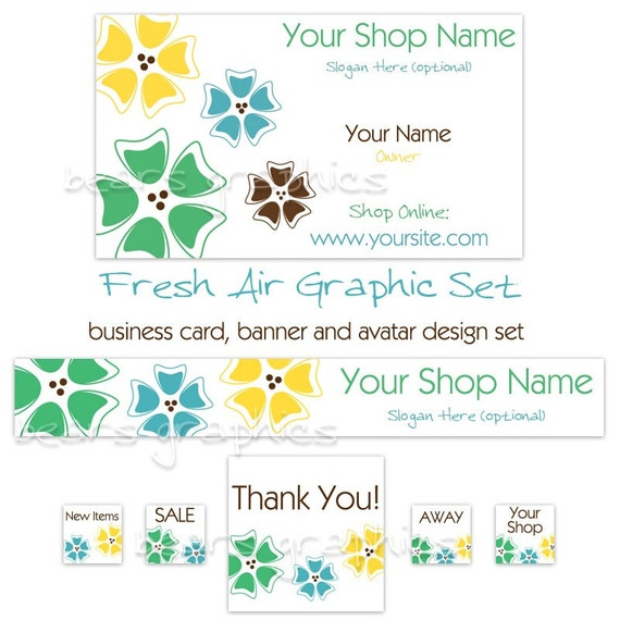 Etsy Banner, Business Card and Avatar Set - Fresh Air, Flowers, Blue, Green, Daisy