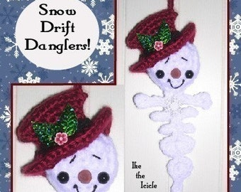 Snowman Icicle & Snowflake Digital PDF Crochet Patterns for Christmas Tree Pkg and Wreath Ornaments