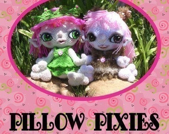 PDF Digital Pillow Pixie Elf Fairy Doll Crochet Pattern by Peggytoes