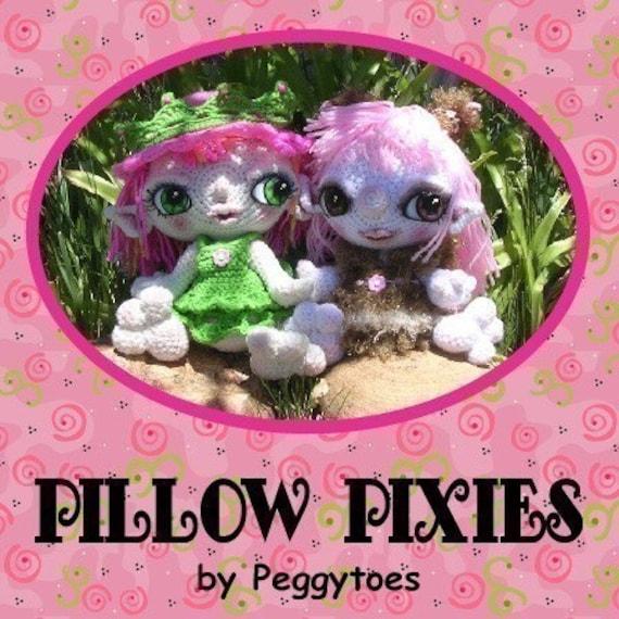 PDF Digital Pillow Pixie Elf Fairy Doll Crochet Pattern by Peggytoes