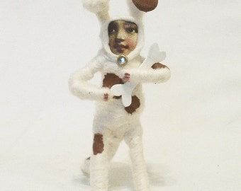 Spun Cotton Vintage Style Dog Boy Figure/Ornament