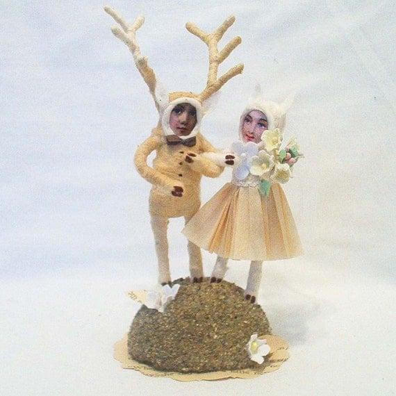 Vintage Style Spun Cotton Deer Wedding Topper Made to Order