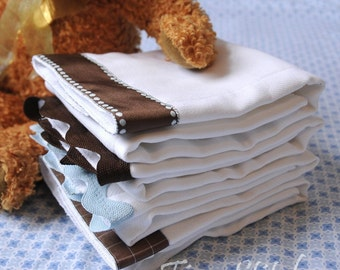 MUD PIE - Burp Cloth Bundle, newborn gift set of 4 coordinating cloths, brown and blue for baby BOY