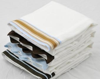 CHOCOLATE - Burp Cloth Bundle, newborn gift set, 4 coordinating cloths in blue & brown for baby BOY