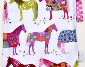 Large 14 x 16 x 4 Wet Bag  Euro Horses Fabric / Perfect for Diapers / Gym / Swim / SEALED SEAMS and Snap Strap