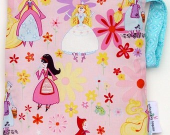 Medium 11 x 14 Wet bag / Swim / Diapers / Gym / Alexander Henry Fairy Princesses Fabric /  SEALED SEAMS and Snap Strap