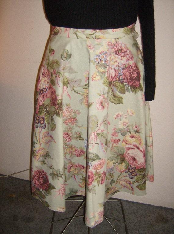 Floral Swing Skirt, Rose Print Skirt, Retro 50's Swing Skirt, Mint Green Floral Skirt, Rockabilly Style