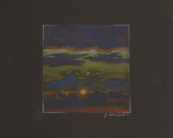 Little Sunrise- Miniature Skyscape Colored Pencil Drawing by Jennifer Greenfield