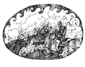 The Oval Forest 8x10 Fine Art Archival Print of Original Pen and Ink Drawing