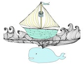 Love Whale 5x5 Quirky Illustration Print