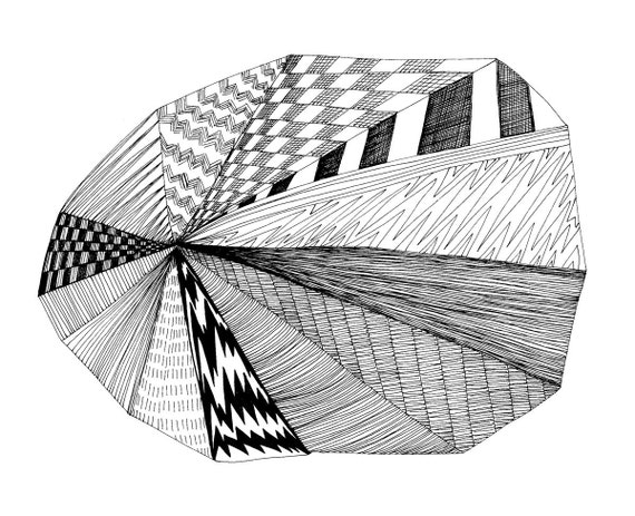 Pie Chart 8x10 Abstract Fine Art Print of Original Pen and Ink Drawing