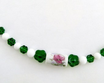 "Scissor Fob - Green Glass Flowers, Porcelain Center Bead, Glass White Beads, Sterling Silver - 5 1/4"" Long - Fob 2"