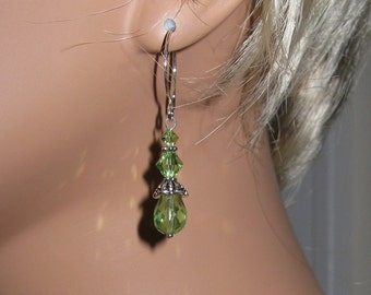 Peridot Swarovski Crystal and Czech Crystal, Sterling Silver, Pewter Earrings - E461