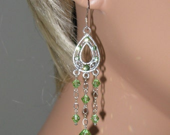 Peridot Swarovski Crystal and Sterling Silver Earrings - E351
