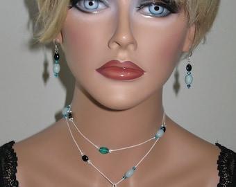 Sesame Jasper, Onyx, Amazonite, Swarovski Crystal and Glass Beads Lariet Necklace and Earrings - N211