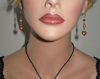 Goldstone Hearts and Beads, Fresh Water Pearls - Necklace and Earrings - N167