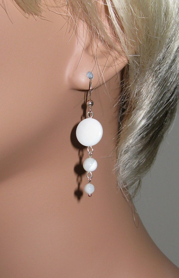 Mother of Pearl and Sterling Silver Earrings - E409