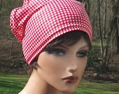 Retro look Red Gingham Check Stretchy Headscarf Wide Headband Pullover XLarge
