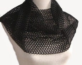 Edgy Infinity Circle Scarf in Jet Black Fishnet Mesh Weave Circle Scarf