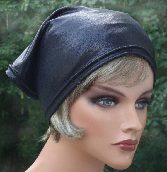 Glossy Jet Black Stretchy Leather Look Lycra 70s inspired Headscarf wide headband