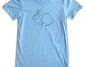 SALE Women's Bunny Tshirt - light blue tee, in small, medium, and large