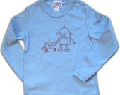 Robot Toddler Tee, Long Sleeve, red on light blue in 2T, 2 year old gift, graphic tee for boys, robot tshirt