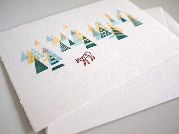 "Woodland - Miniprint - 10x15cm/4x6""/A6 // Original Print, Mini Art, handprinted"