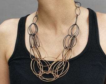 two-tone, ombre chain link statement necklace in black steel and bronze - original Maya necklace by megan auman