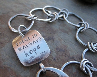 Personalized Bracelet Inspirational Jewelry Hope Hand Stamped