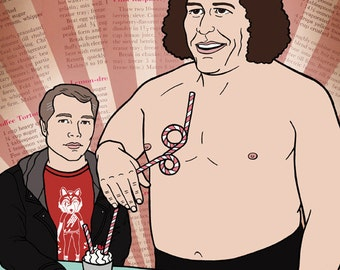 André the Giant and Shepard Fairey sharing a milkshake