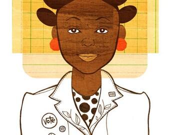 Yearbook Grace, (African American Girl Illustration, Natural Hair Bantu Knot)  Art Print,
