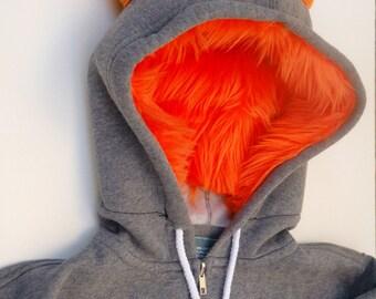 My (Big) Monster Hoodie  - Gray and orange - Adult Unisex Small - monster hoodie, horned sweatshirt, adult jacket